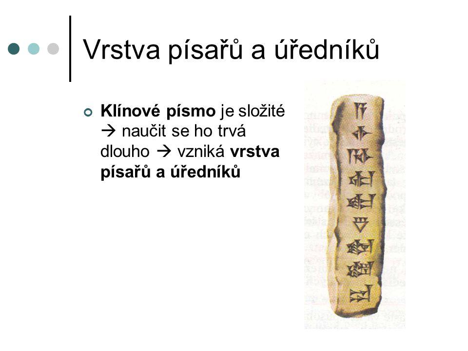 Vrstva písařů a úředníků Klínové písmo je složité  naučit se ho trvá dlouho  vzniká vrstva písařů a úředníků