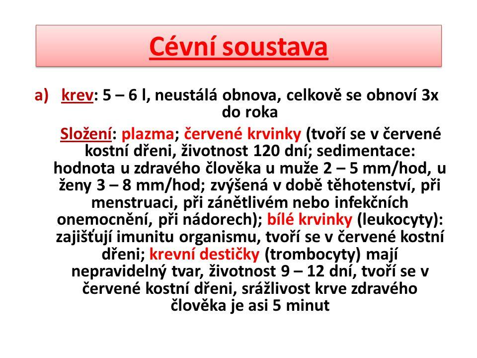 Cévní soustava a)krev: 5 – 6 l, neustálá obnova, celkově se obnoví 3x do roka Složení: plazma; červené krvinky (tvoří se v červené kostní dřeni, život
