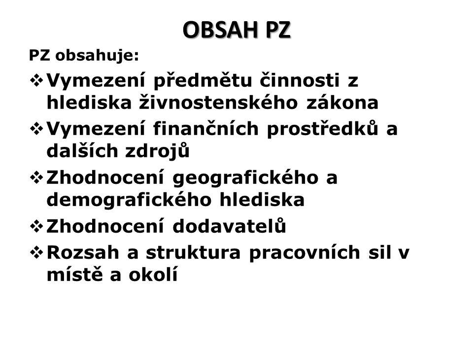 OBSAH PZ PZ obsahuje:  Vymezení předmětu činnosti z hlediska živnostenského zákona  Vymezení finančních prostředků a dalších zdrojů  Zhodnocení geo