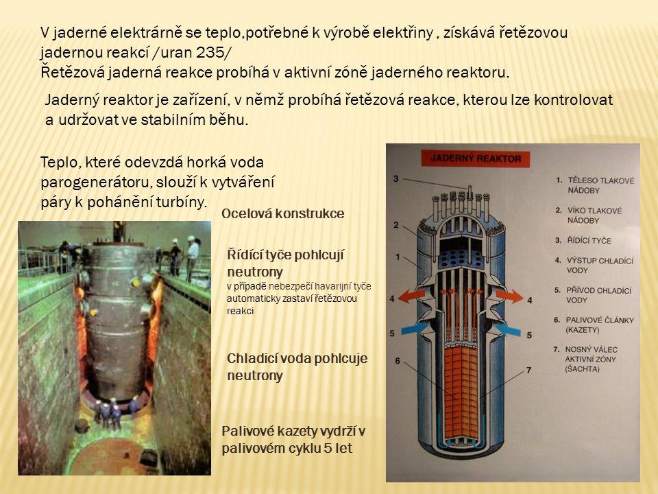 V jaderné elektrárně se teplo,potřebné k výrobě elektřiny, získává řetězovou jadernou reakcí /uran 235/ Řetězová jaderná reakce probíhá v aktivní zóně