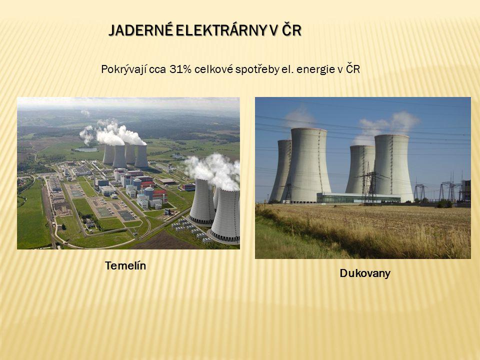 JADERNÉ ELEKTRÁRNY V ČR Pokrývají cca 31% celkové spotřeby el. energie v ČR Temelín Dukovany