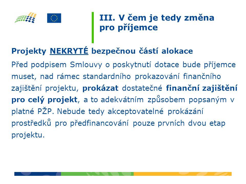 III. V čem je tedy změna pro příjemce Projekty NEKRYTÉ bezpečnou částí alokace Před podpisem Smlouvy o poskytnutí dotace bude příjemce muset, nad ráme