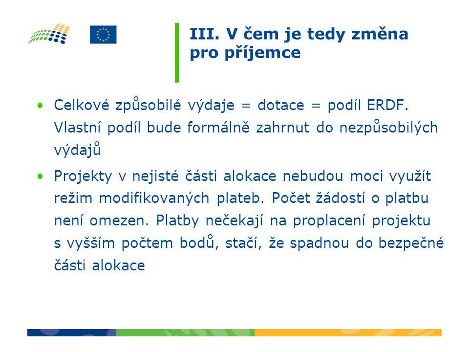 III. V čem je tedy změna pro příjemce Celkové způsobilé výdaje = dotace = podíl ERDF. Vlastní podíl bude formálně zahrnut do nezpůsobilých výdajů Proj