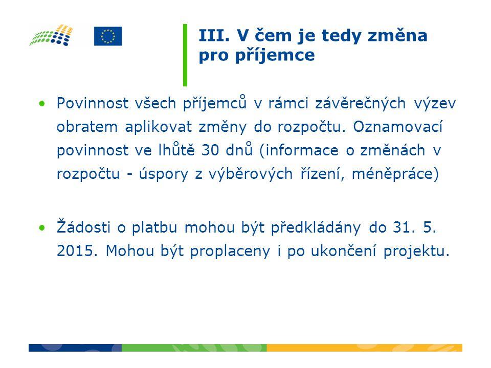 III. V čem je tedy změna pro příjemce Povinnost všech příjemců v rámci závěrečných výzev obratem aplikovat změny do rozpočtu. Oznamovací povinnost ve