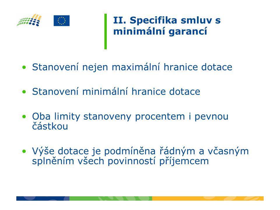 II. Specifika smluv s minimální garancí Stanovení nejen maximální hranice dotace Stanovení minimální hranice dotace Oba limity stanoveny procentem i p