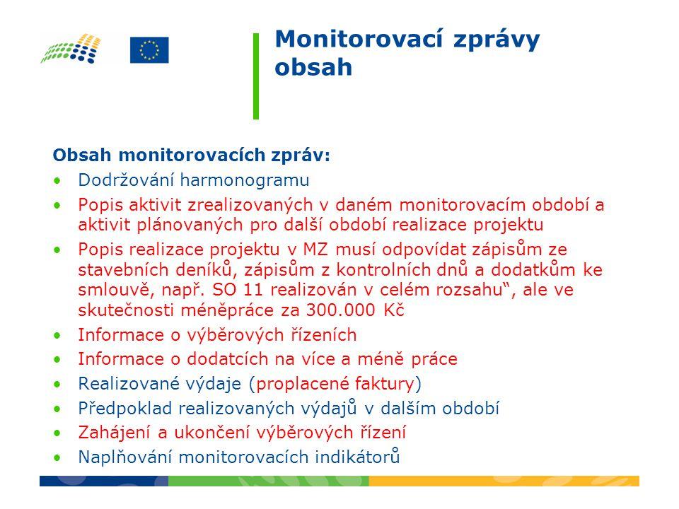 Monitorovací zprávy obsah Obsah monitorovacích zpráv: Dodržování harmonogramu Popis aktivit zrealizovaných v daném monitorovacím období a aktivit plán