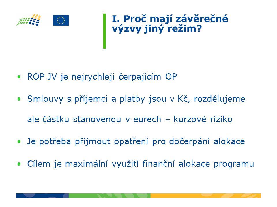 I. Proč mají závěrečné výzvy jiný režim? ROP JV je nejrychleji čerpajícím OP Smlouvy s příjemci a platby jsou v Kč, rozdělujeme ale částku stanovenou