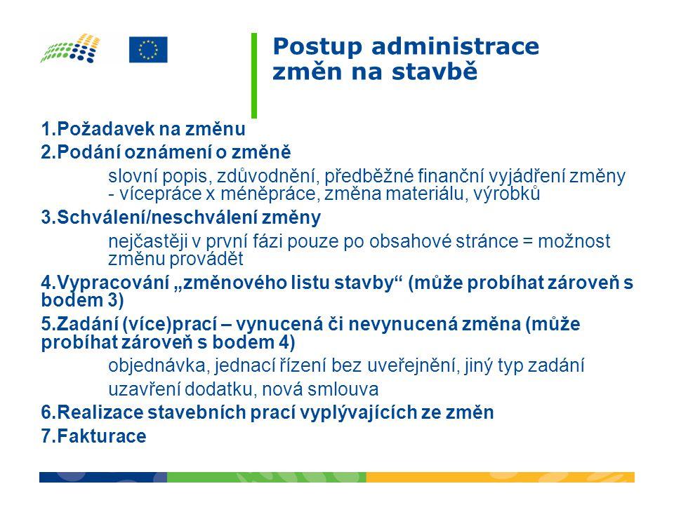 Postup administrace změn na stavbě 1.Požadavek na změnu 2.Podání oznámení o změně slovní popis, zdůvodnění, předběžné finanční vyjádření změny - vícep