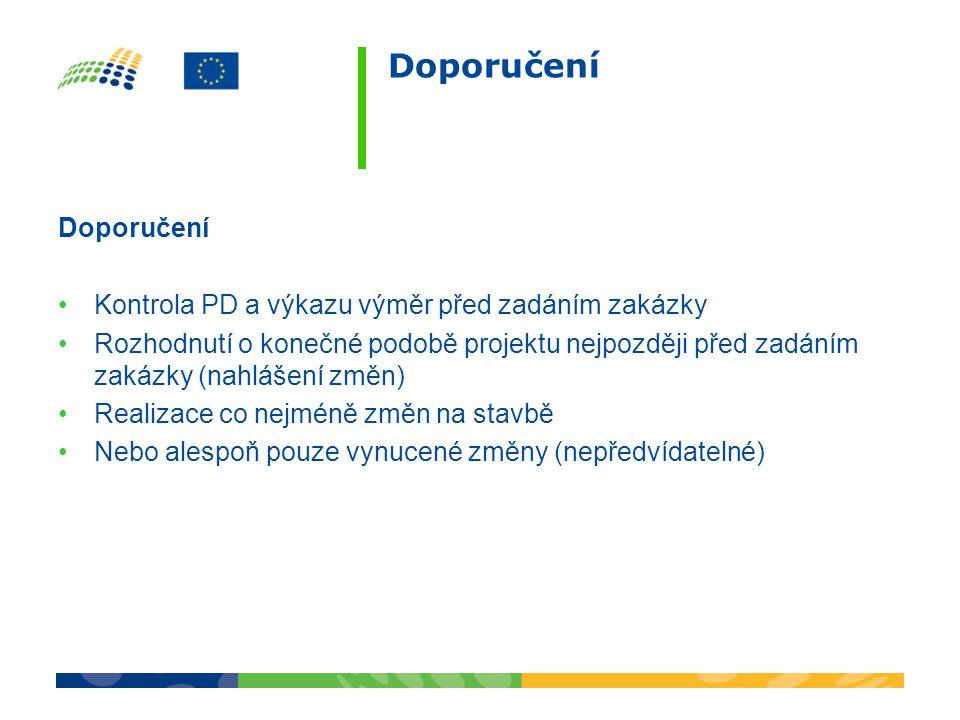 Doporučení Kontrola PD a výkazu výměr před zadáním zakázky Rozhodnutí o konečné podobě projektu nejpozději před zadáním zakázky (nahlášení změn) Reali