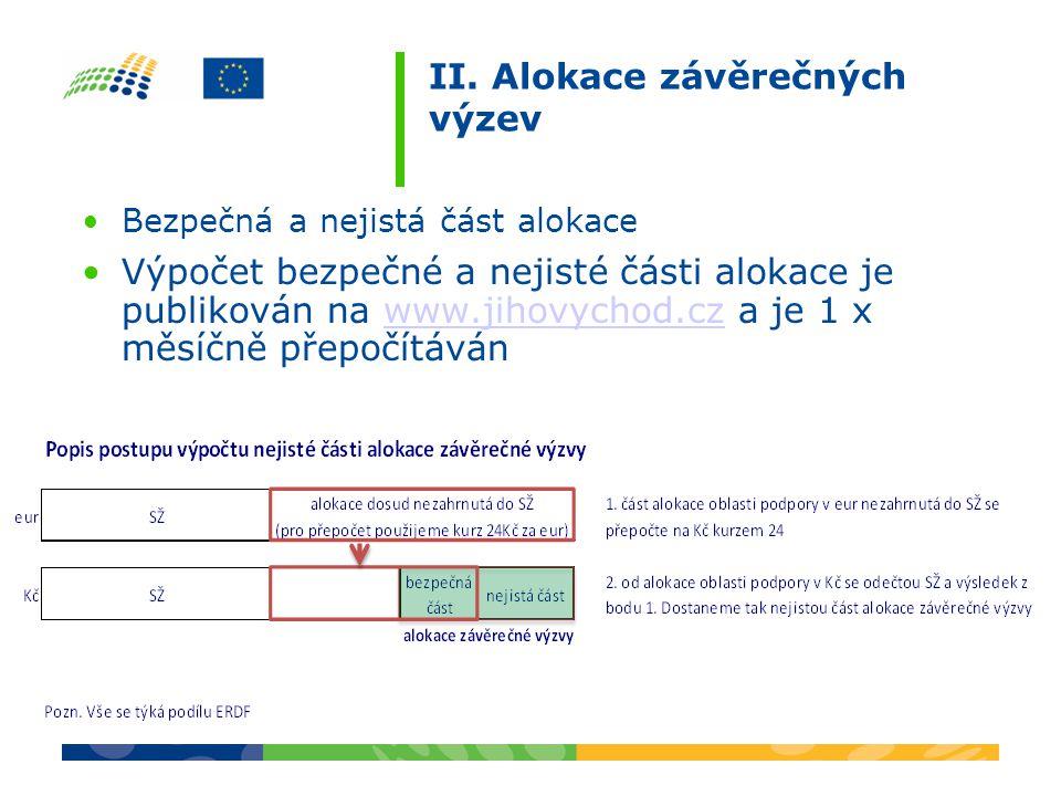 II. Alokace závěrečných výzev Bezpečná a nejistá část alokace Výpočet bezpečné a nejisté části alokace je publikován na www.jihovychod.cz a je 1 x měs