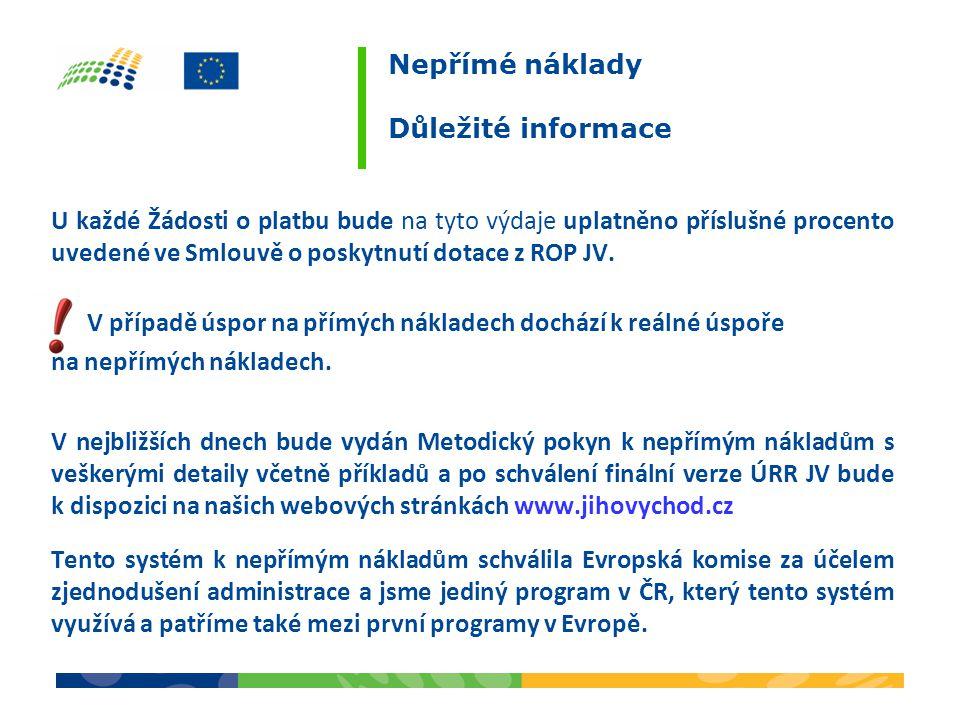 U každé Žádosti o platbu bude na tyto výdaje uplatněno příslušné procento uvedené ve Smlouvě o poskytnutí dotace z ROP JV. V případě úspor na přímých