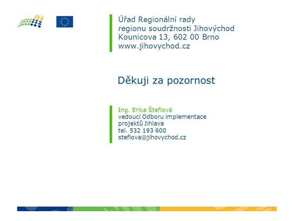 Úřad Regionální rady regionu soudržnosti Jihovýchod Kounicova 13, 602 00 Brno www.jihovychod.cz Ing. Erika Šteflová vedoucí Odboru implementace projek