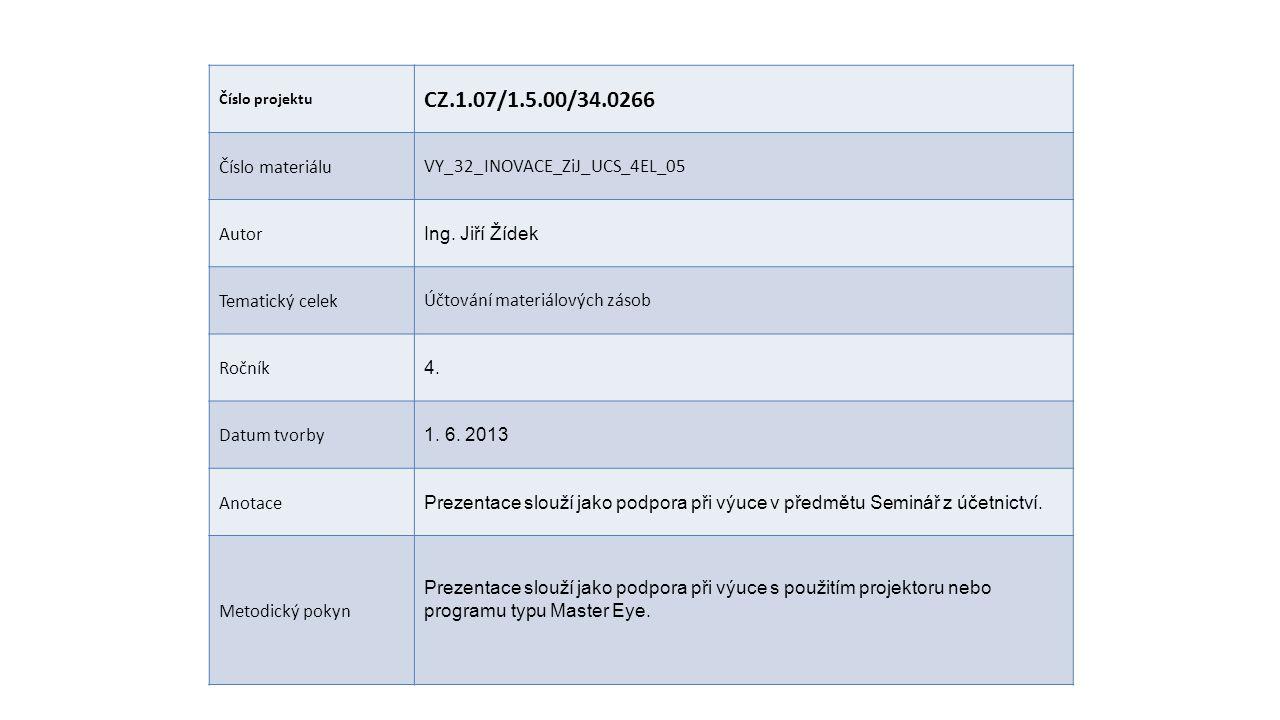 Číslo projektu CZ.1.07/1.5.00/34.0266 Číslo materiáluVY_32_INOVACE_ZiJ_UCS_4EL_05 Autor Ing.