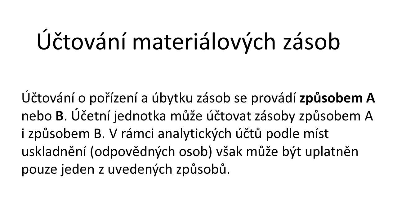 Účtování materiálových zásob Účtování o pořízení a úbytku zásob se provádí způsobem A nebo B.