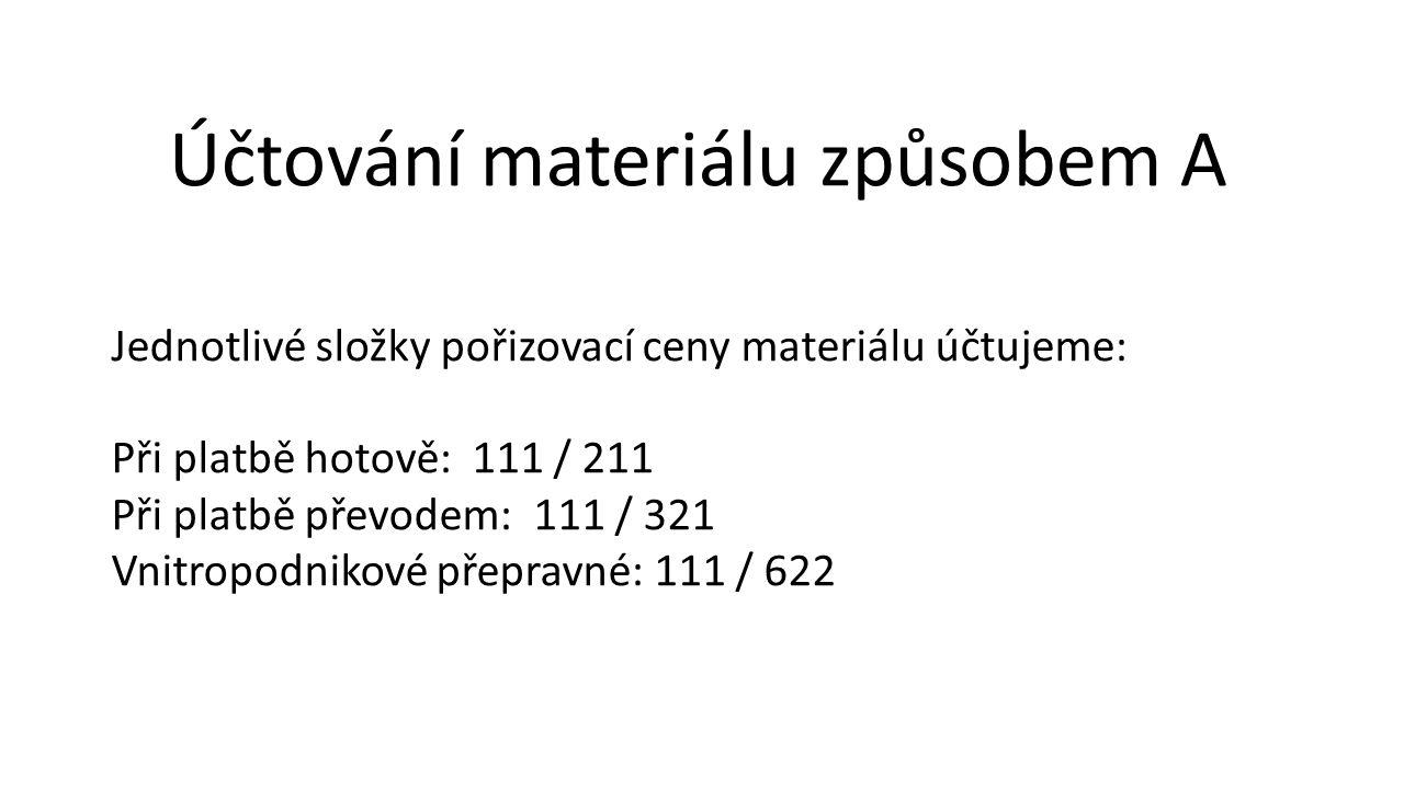 Účtování materiálu způsobem A Jednotlivé složky pořizovací ceny materiálu účtujeme: Při platbě hotově: 111 / 211 Při platbě převodem: 111 / 321 Vnitropodnikové přepravné: 111 / 622