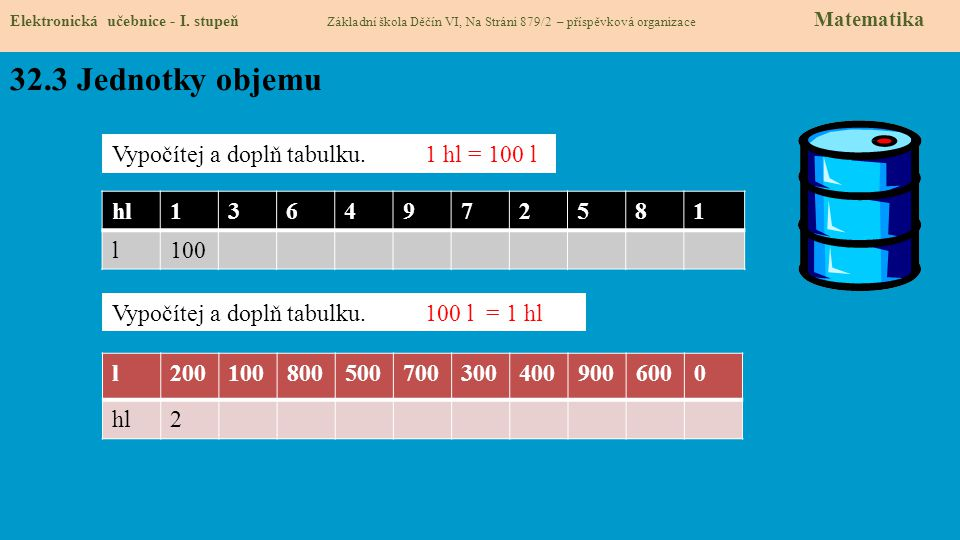 32.3 Jednotky objemu Elektronická učebnice - I.