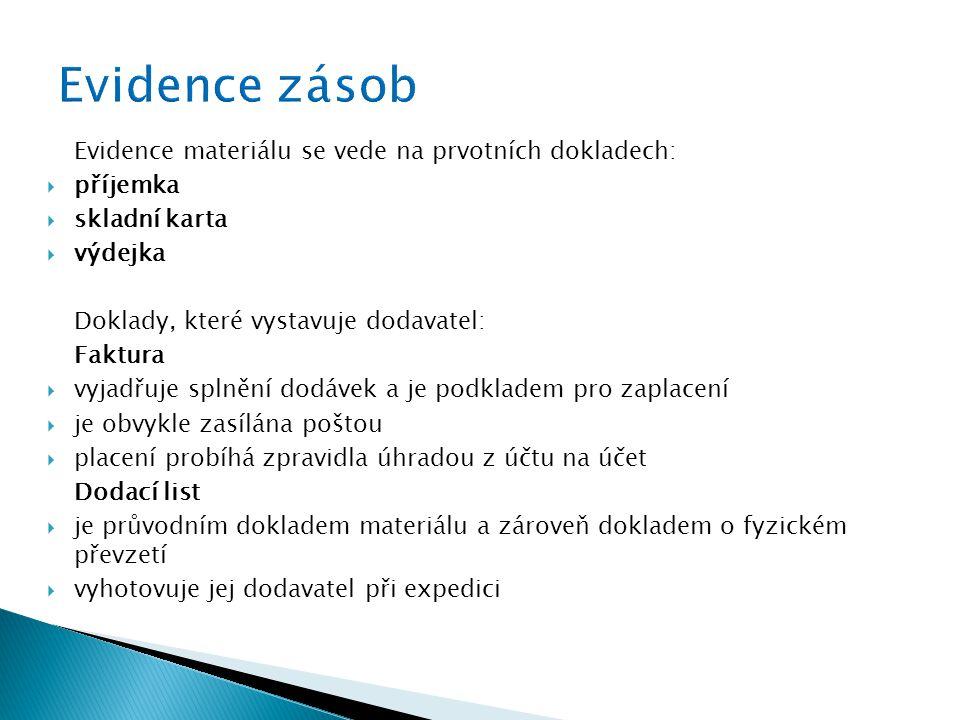 Evidence materiálu se vede na prvotních dokladech:  příjemka  skladní karta  výdejka Doklady, které vystavuje dodavatel: Faktura  vyjadřuje splněn