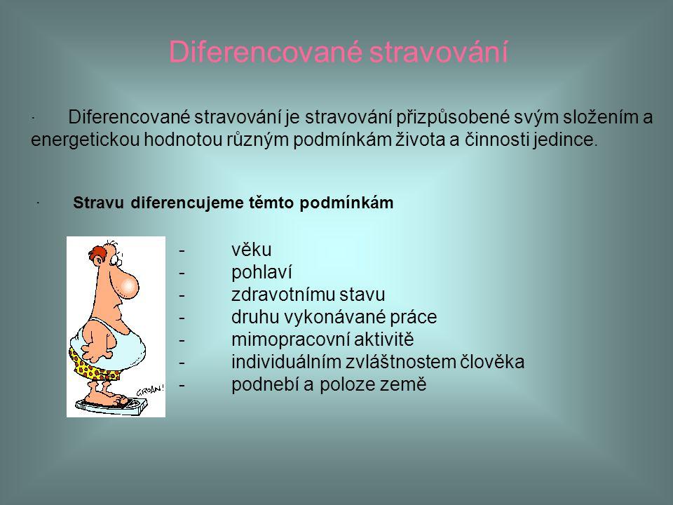 Diferencované stravování · Diferencované stravování je stravování přizpůsobené svým složením a energetickou hodnotou různým podmínkám života a činnost