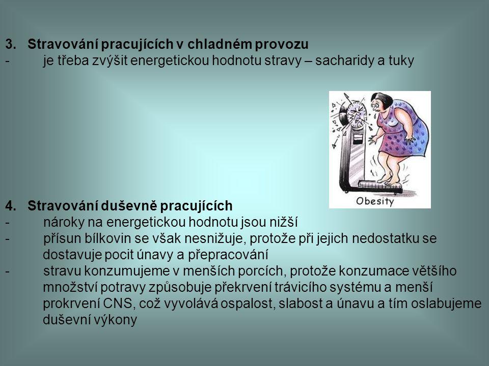 3. Stravování pracujících v chladném provozu - je třeba zvýšit energetickou hodnotu stravy – sacharidy a tuky 4. Stravování duševně pracujících - náro