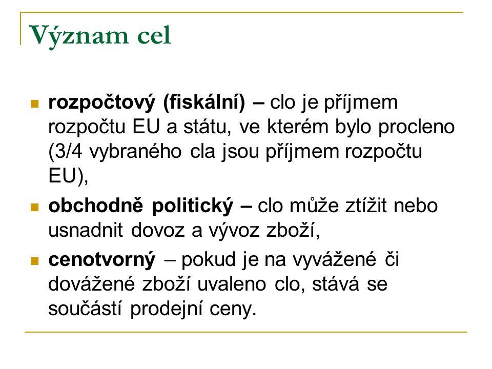 Význam cel rozpočtový (fiskální) – clo je příjmem rozpočtu EU a státu, ve kterém bylo procleno (3/4 vybraného cla jsou příjmem rozpočtu EU), obchodně