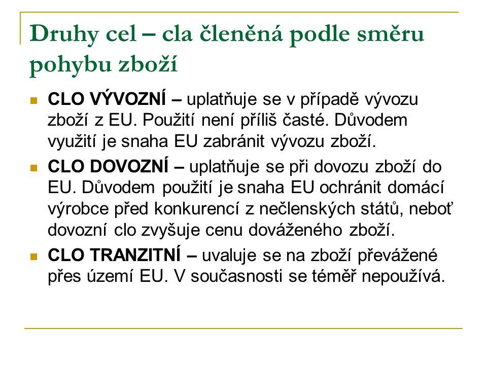 Druhy cel – cla členěná podle směru pohybu zboží CLO VÝVOZNÍ – uplatňuje se v případě vývozu zboží z EU. Použití není příliš časté. Důvodem využití je