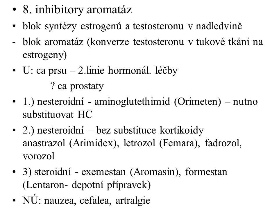 8. inhibitory aromatáz blok syntézy estrogenů a testosteronu v nadledvině -blok aromatáz (konverze testosteronu v tukové tkáni na estrogeny) U: ca prs