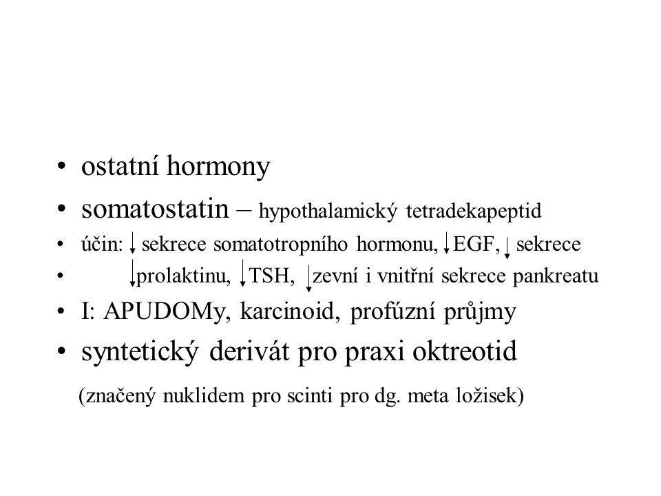 ostatní hormony somatostatin – hypothalamický tetradekapeptid účin: sekrece somatotropního hormonu, EGF, sekrece prolaktinu, TSH, zevní i vnitřní sekrece pankreatu I: APUDOMy, karcinoid, profúzní průjmy syntetický derivát pro praxi oktreotid (značený nuklidem pro scinti pro dg.