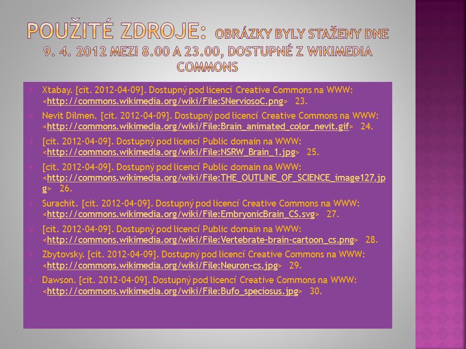 Xtabay. [cit. 2012-04-09]. Dostupný pod licencí Creative Commons na WWW: 23.http://commons.wikimedia.org/wiki/File:SNerviosoC.png  Nevit Dilmen. [c