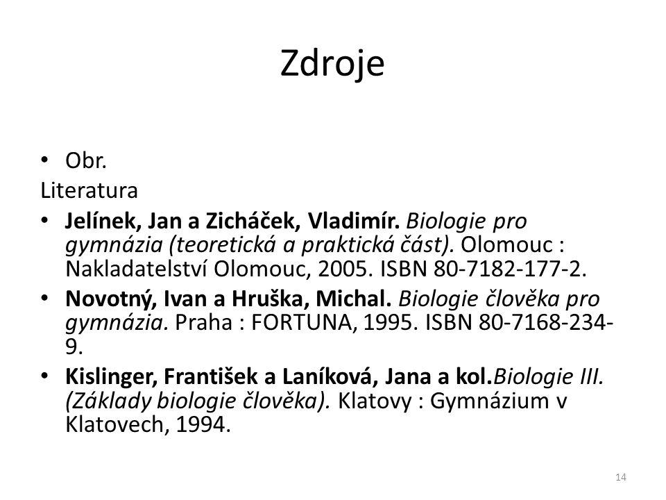 Zdroje Obr.Literatura Jelínek, Jan a Zicháček, Vladimír.
