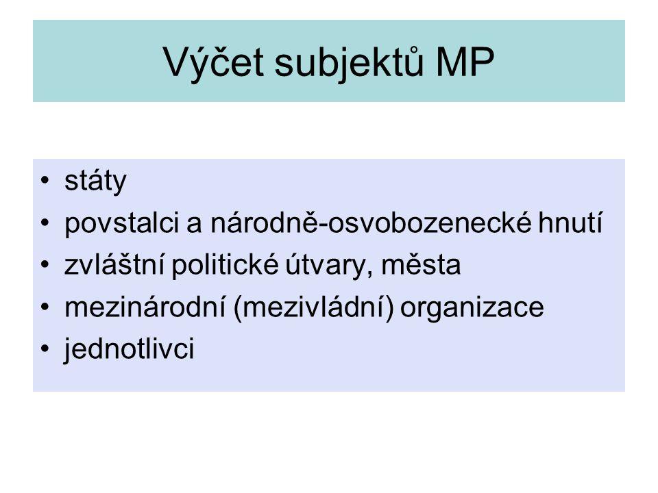 Výčet subjektů MP státy povstalci a národně-osvobozenecké hnutí zvláštní politické útvary, města mezinárodní (mezivládní) organizace jednotlivci