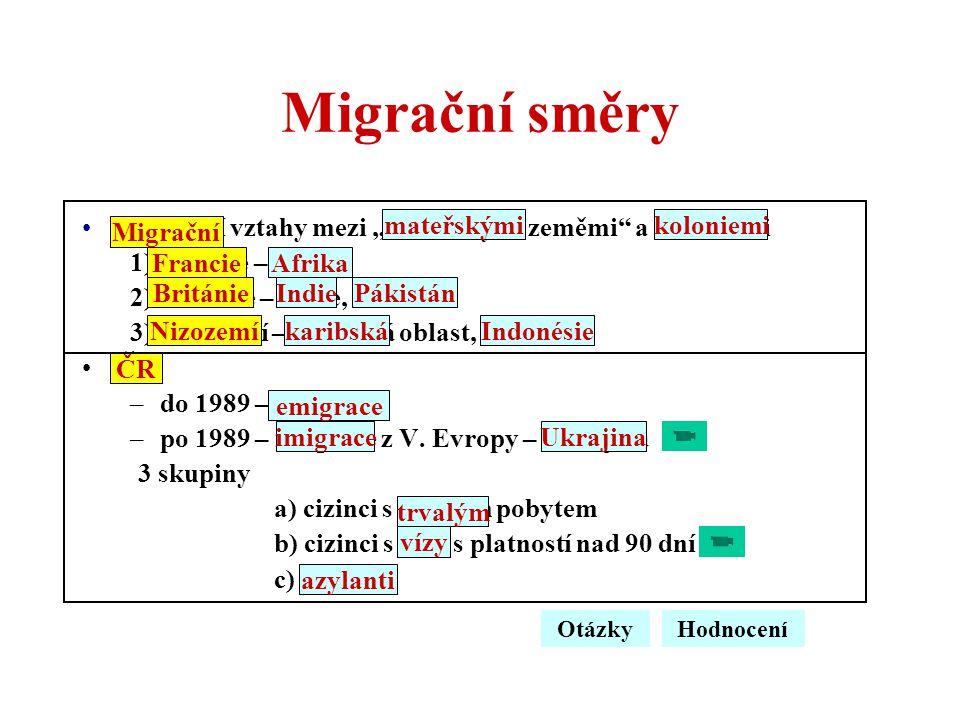 """Migrační směry Migrační vztahy mezi """"mateřskými zeměmi"""" a koloniemi 1)Francie – Afrika 2)Británie – Indie, Pákistán 3)Nizozemí – karibská oblast, Indo"""