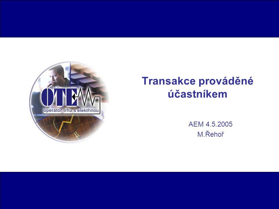 Transakce prováděné účastníkem AEM 4.5.2005 M.Řehoř