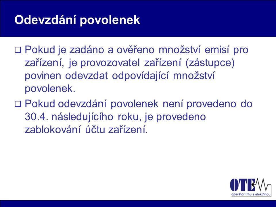 Odevzdání povolenek  Pokud je zadáno a ověřeno množství emisí pro zařízení, je provozovatel zařízení (zástupce) povinen odevzdat odpovídající množstv