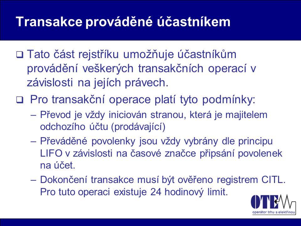 Transakce prováděné účastníkem (2)  Mezi základní transakce prováděné účastníkem patří: –Vnitrostátní převody převod povolenek v rámci jednoho rejstříku (platí i pro převody mezi vlastními účty účastníka).