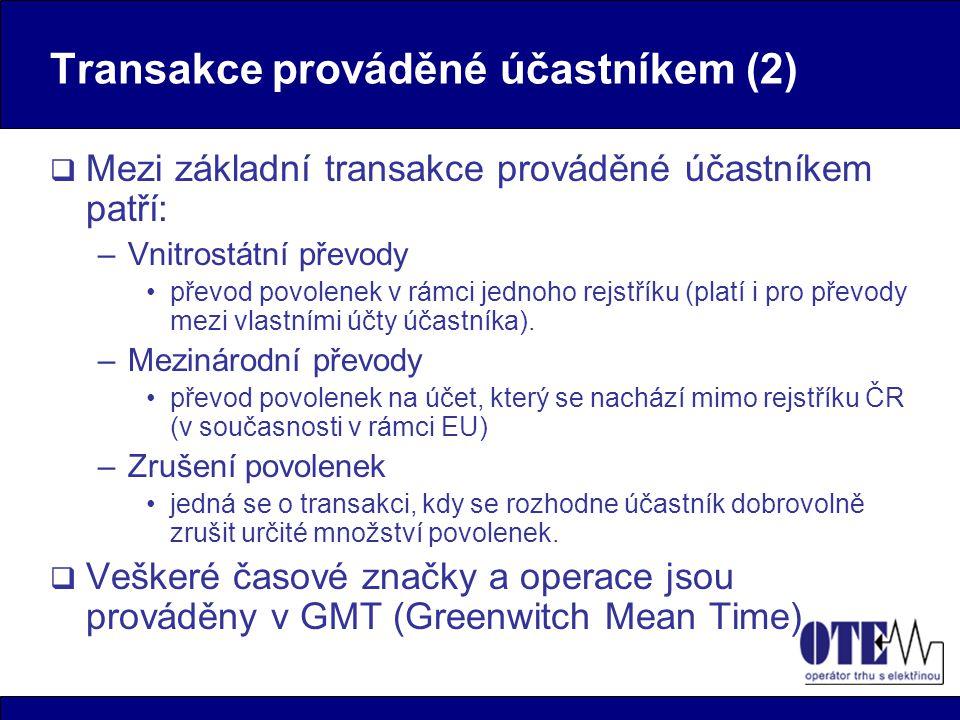 Transakce prováděné účastníkem (2)  Mezi základní transakce prováděné účastníkem patří: –Vnitrostátní převody převod povolenek v rámci jednoho rejstř