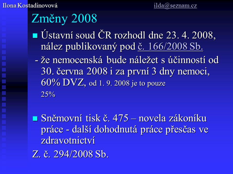 Změny 2008 Ústavní soud ČR rozhodl dne 23.4. 2008, nález publikovaný pod č.