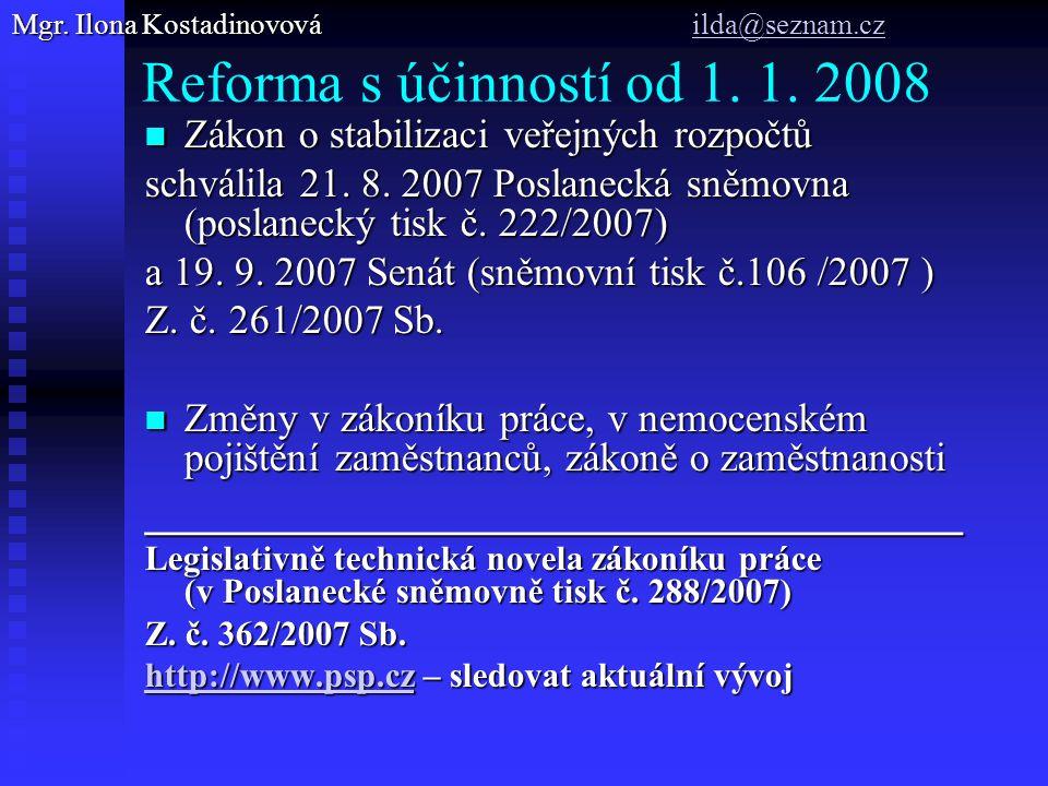 Reforma s účinností od 1.1.