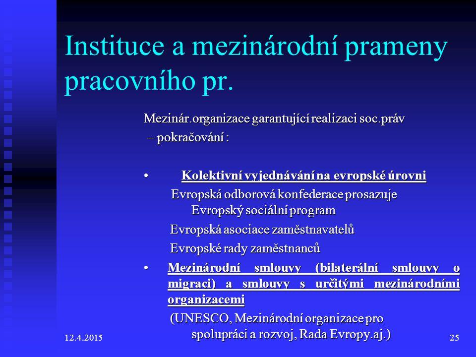 12.4.201525 Instituce a mezinárodní prameny pracovního pr.