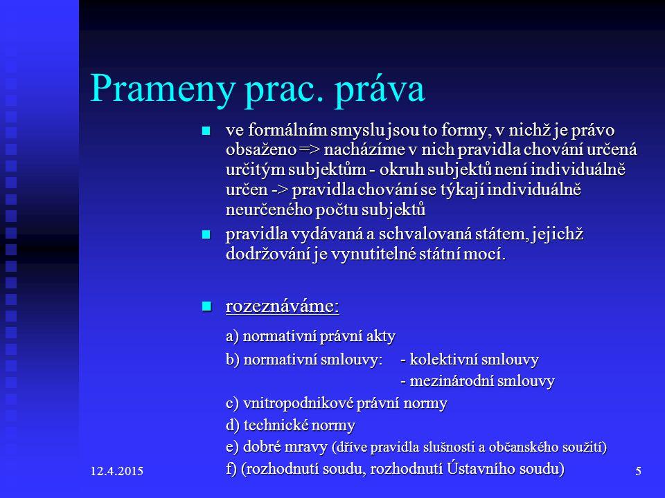 12.4.20156 Normativní právní akty 1.Ústavní zákony – LZPS, Ústava ČR (2,1/1993 Sb.) 2.