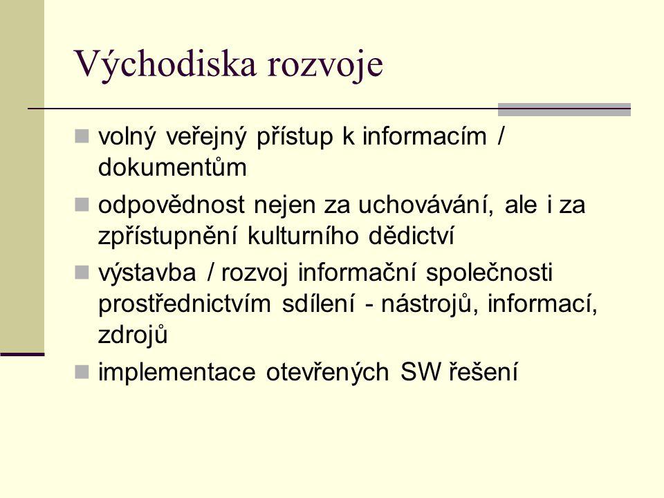 Východiska rozvoje volný veřejný přístup k informacím / dokumentům odpovědnost nejen za uchovávání, ale i za zpřístupnění kulturního dědictví výstavba / rozvoj informační společnosti prostřednictvím sdílení - nástrojů, informací, zdrojů implementace otevřených SW řešení
