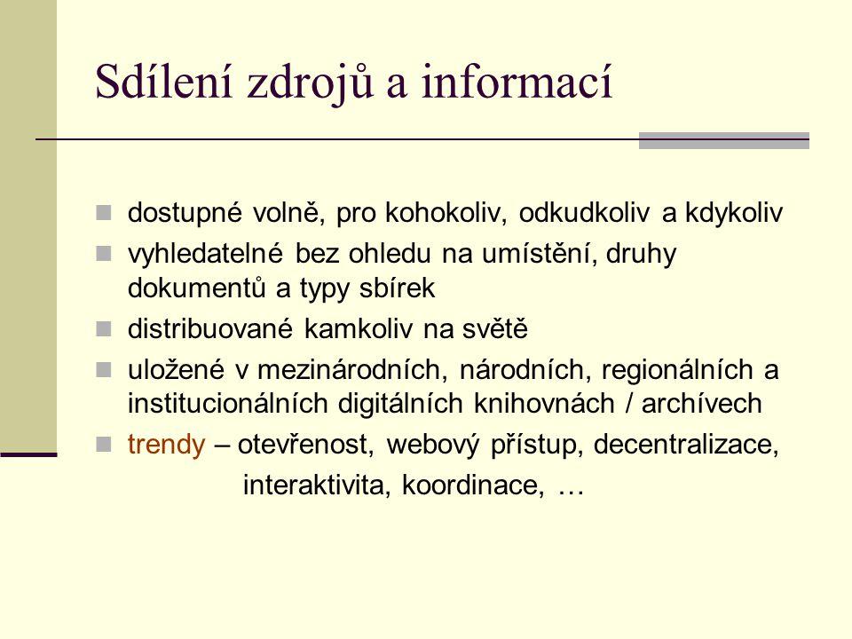 Sdílení zdrojů a informací dostupné volně, pro kohokoliv, odkudkoliv a kdykoliv vyhledatelné bez ohledu na umístění, druhy dokumentů a typy sbírek distribuované kamkoliv na světě uložené v mezinárodních, národních, regionálních a institucionálních digitálních knihovnách / archívech trendy – otevřenost, webový přístup, decentralizace, interaktivita, koordinace, …