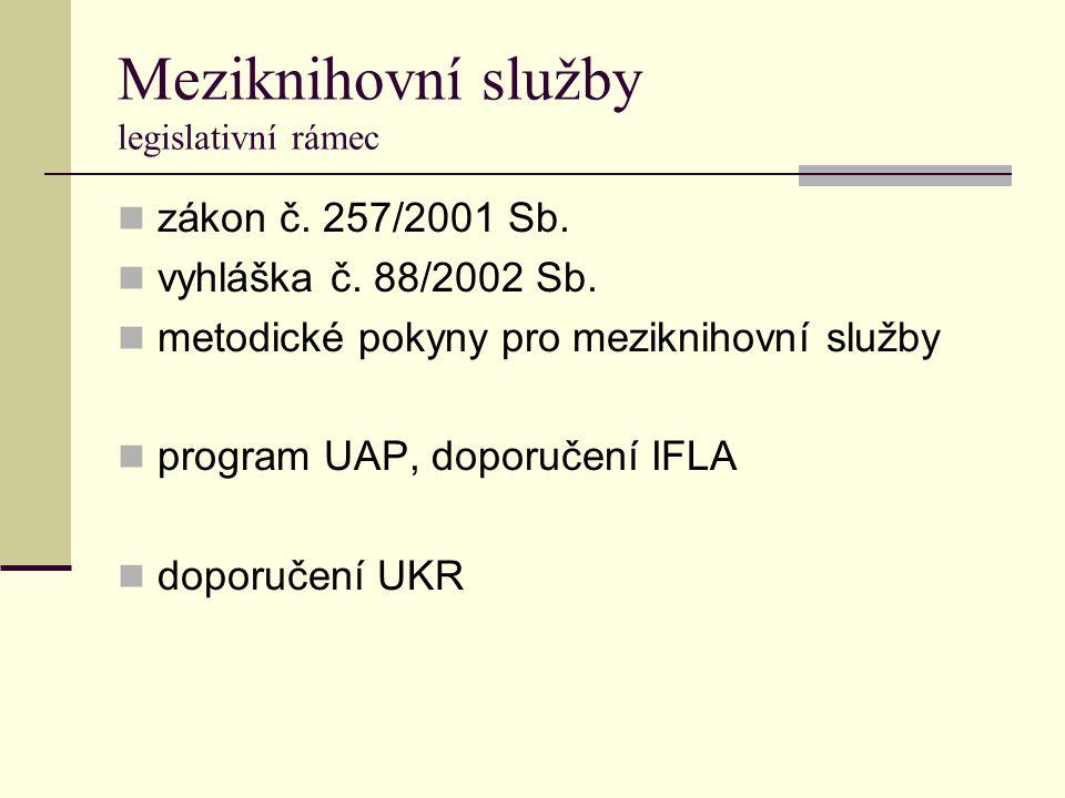 Meziknihovní služby legislativní rámec zákon č. 257/2001 Sb. vyhláška č. 88/2002 Sb. metodické pokyny pro meziknihovní služby program UAP, doporučení