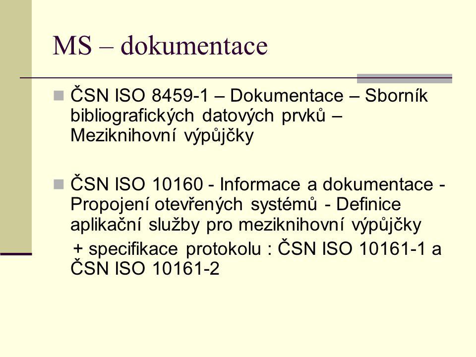 MS – dokumentace ČSN ISO 8459-1 – Dokumentace – Sborník bibliografických datových prvků – Meziknihovní výpůjčky ČSN ISO 10160 - Informace a dokumentace - Propojení otevřených systémů - Definice aplikační služby pro meziknihovní výpůjčky + specifikace protokolu : ČSN ISO 10161-1 a ČSN ISO 10161-2