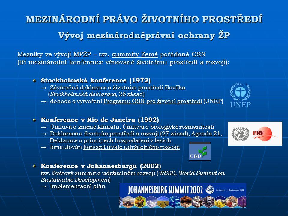 MEZINÁRODNÍ PRÁVO ŽIVOTNÍHO PROSTŘEDÍ Vývoj mezinárodněprávní ochrany ŽP Mezníky ve vývoji MPŽP – tzv. summity Země pořádané OSN (tři mezinárodní konf