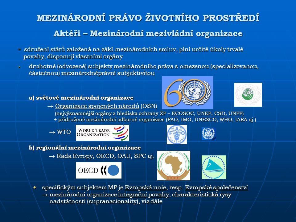 MEZINÁRODNÍ PRÁVO ŽIVOTNÍHO PROSTŘEDÍ Aktéři – Mezinárodní mezivládní organizace = sdružení států založená na zákl.mezinárodních smluv, plní určité úk