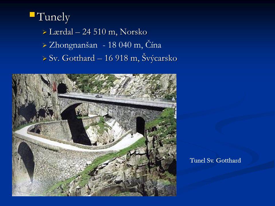  Tunely  Lærdal – 24 510 m, Norsko   Zhongnanšan - 18 040 m, Čína  Sv.