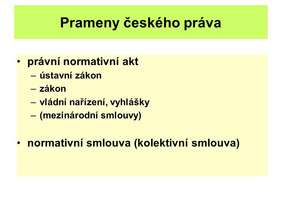 Prameny českého práva právní normativní akt –ústavní zákon –zákon –vládní nařízení, vyhlášky –(mezinárodní smlouvy) normativní smlouva (kolektivní sml