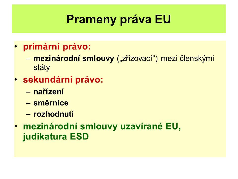 """Prameny práva EU primární právo: –mezinárodní smlouvy (""""zřizovací"""") mezi členskými státy sekundární právo: –nařízení –směrnice –rozhodnutí mezinárodní"""