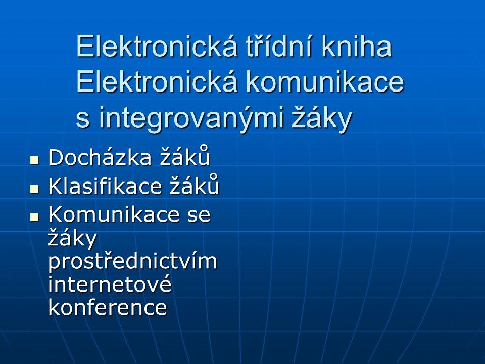 Elektronická třídní kniha Elektronická komunikace s integrovanými žáky Docházka žáků Docházka žáků Klasifikace žáků Klasifikace žáků Komunikace se žáky prostřednictvím internetové konference Komunikace se žáky prostřednictvím internetové konference