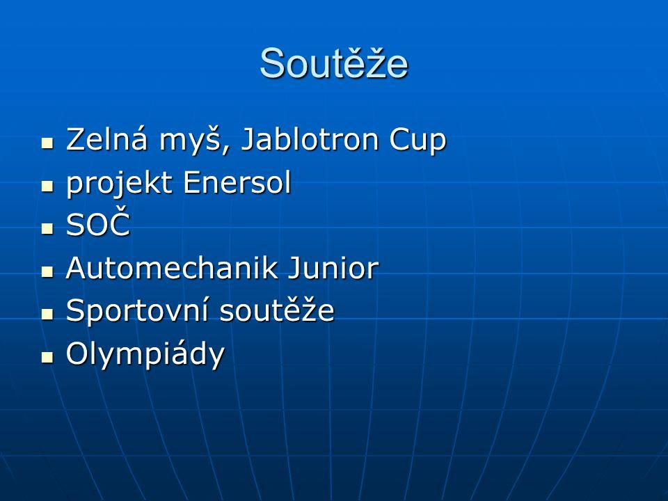 Soutěže Zelná myš, Jablotron Cup Zelná myš, Jablotron Cup projekt Enersol projekt Enersol SOČ SOČ Automechanik Junior Automechanik Junior Sportovní soutěže Sportovní soutěže Olympiády Olympiády